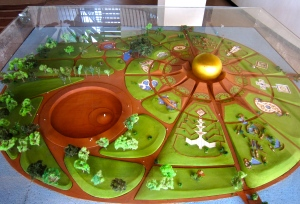 Model of the Matrimandir and surrounding garden