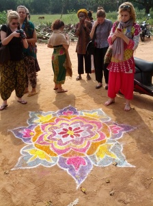Beautiful kolam at Yatra.